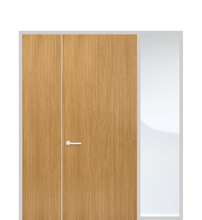 Door panel with side light and solid panel